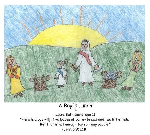 John 6:9, Bible, God, Jesus, miracle, feeding of the 5000, boy, lunch, loaves, fish