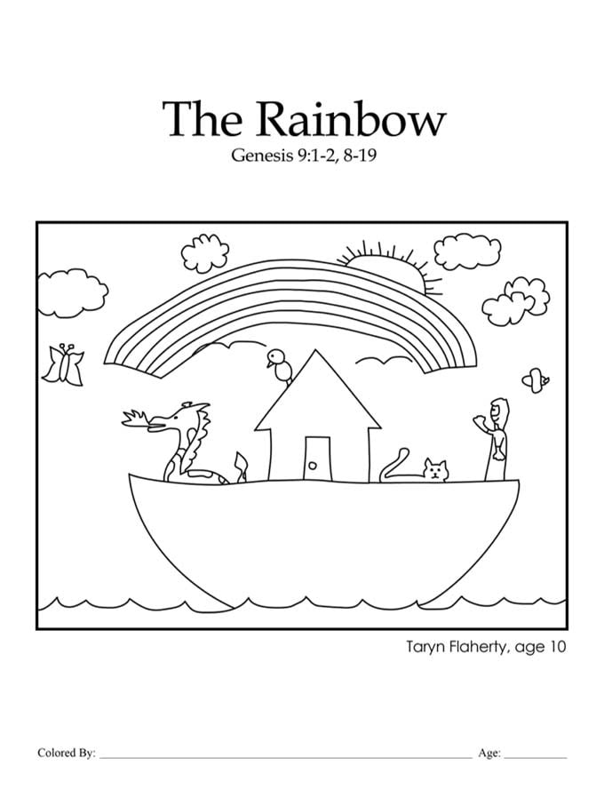 Chapter 6, Noah's Ark rainbow coloring page