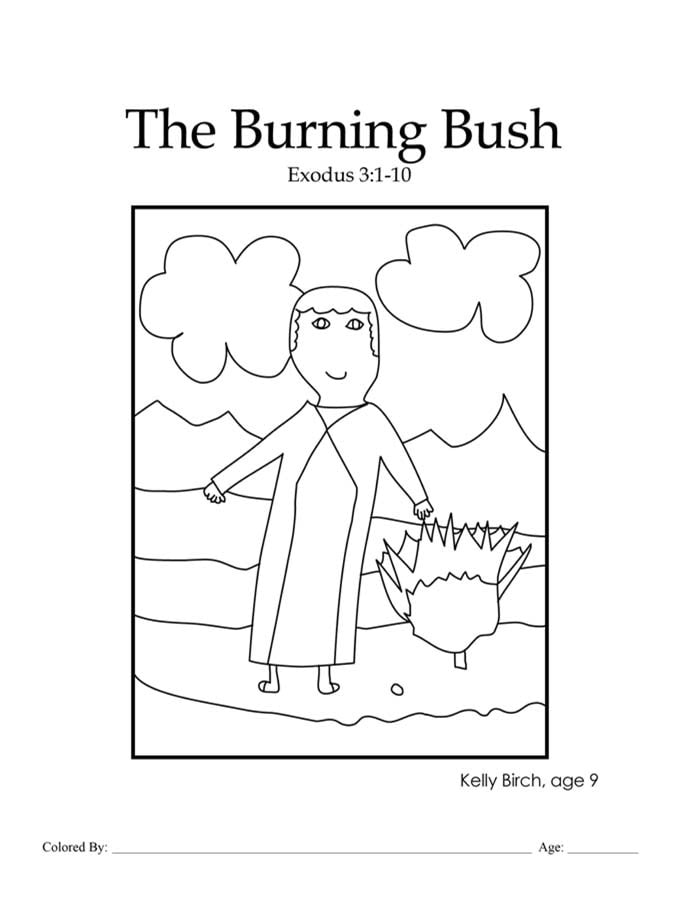 Chapter 11: Moses and the burning bush coloring page