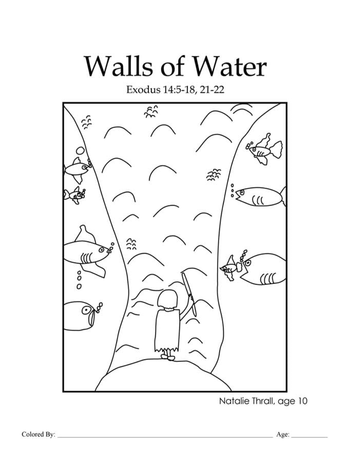 Walls of Water: Moses parting the Red Sea coloring page