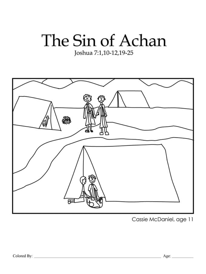 Chapter 17: The Sin of Achan coloring page