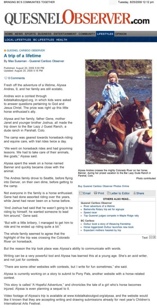 The Quesnel Cariboo Observer had a beautiful write-up about Alyssa's winning dude ranch trip at Bar Lazy J.