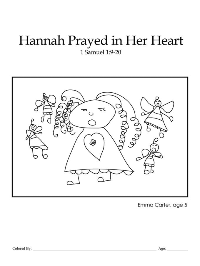 Chapter 19: Bible coloring page of Hannah praying