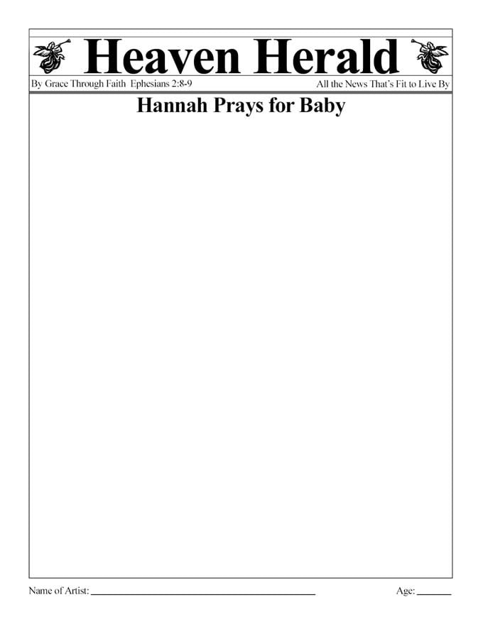 Draw a picture about Hannah praying.