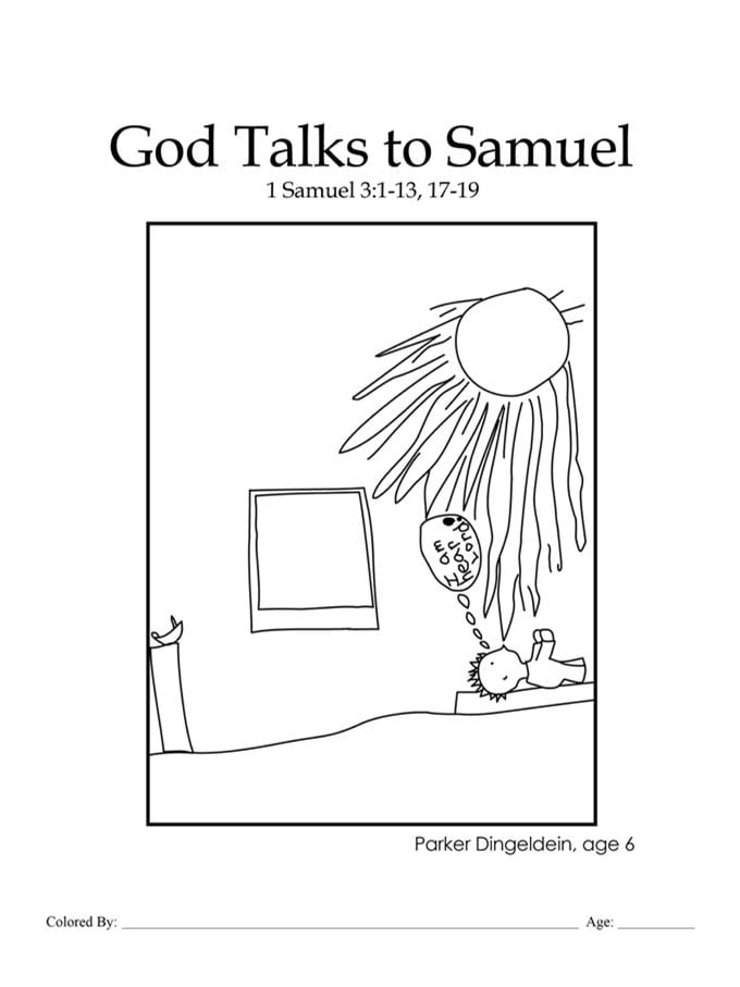 Chapter 20: Bible coloring page of God talking to Samuel