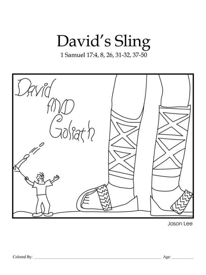 Chapter 21: Bible coloring page of David and Goliath