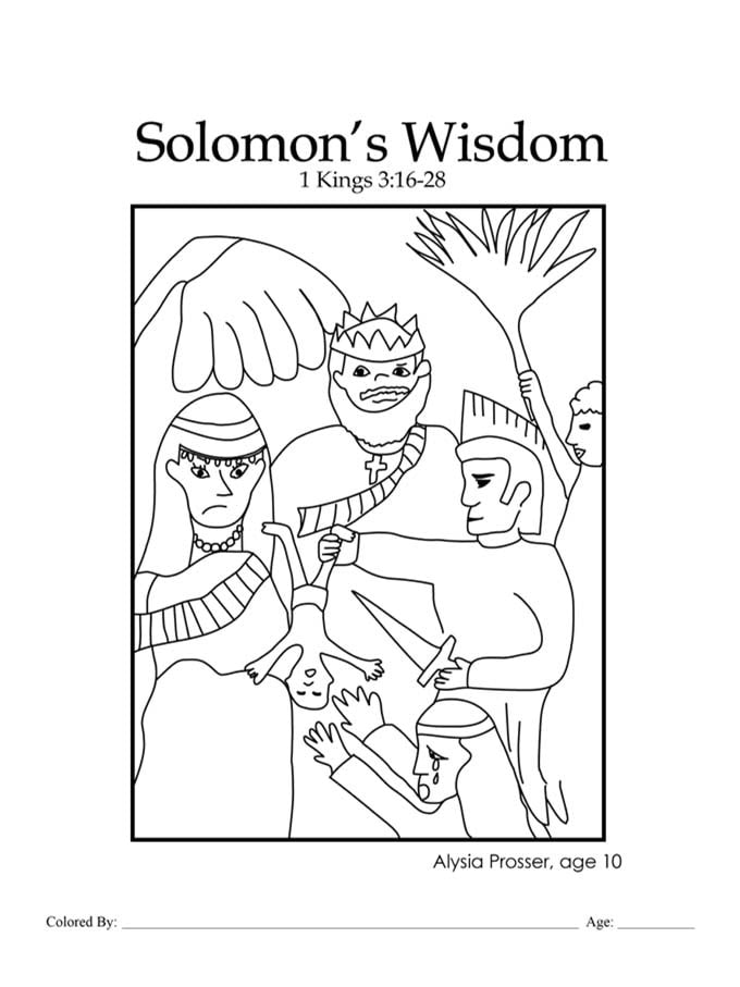 Chapter 23: Bible coloring page about Solomon's wisdom
