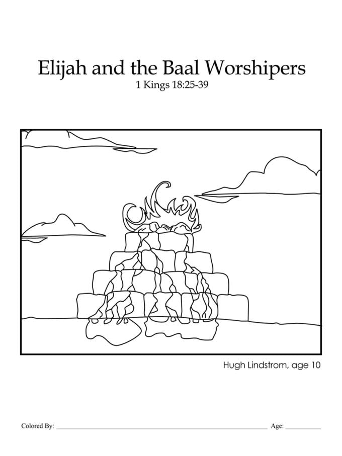 Chapter 24: Bible coloring page of Elijah's altar
