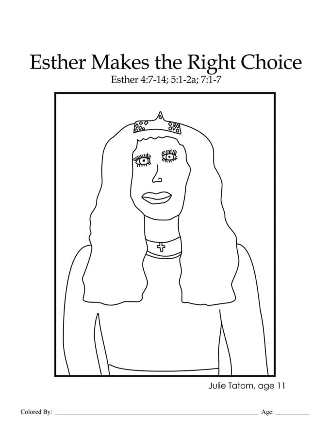 Chapter 26: Bible coloring page of Queen Esther