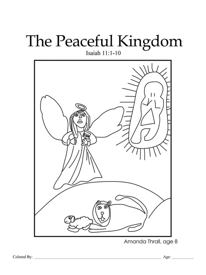 Chapter 30: Bible coloring page of the lion and the lamb
