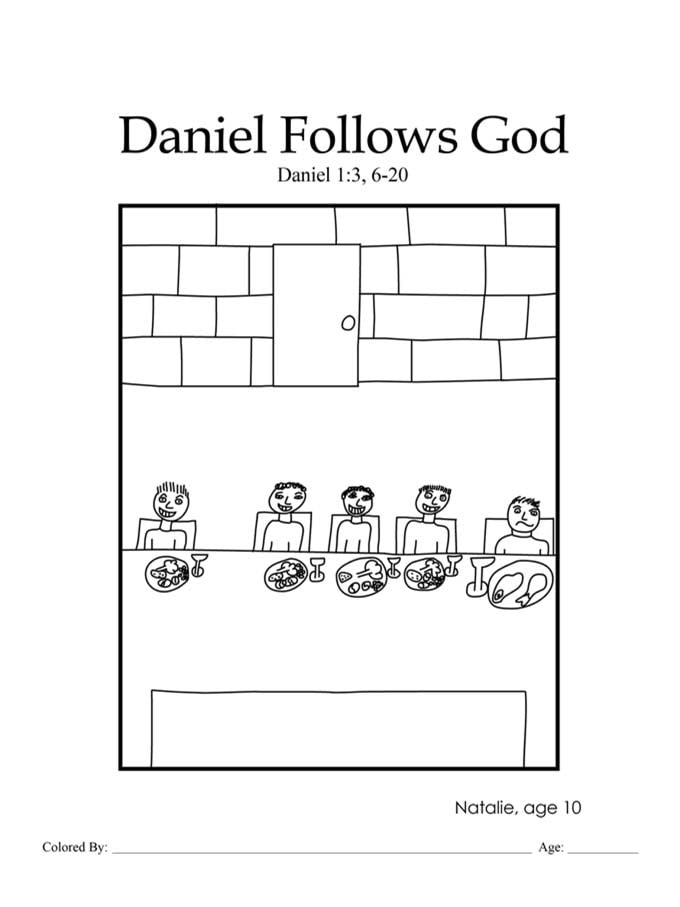 Chapter 31: Bible coloring page of Daniel and friends eating vegetables