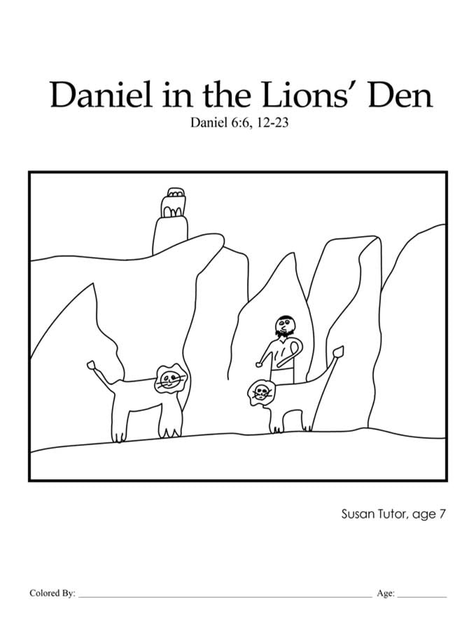 Chapter 32: Bible coloring page of Daniel in the lions' den