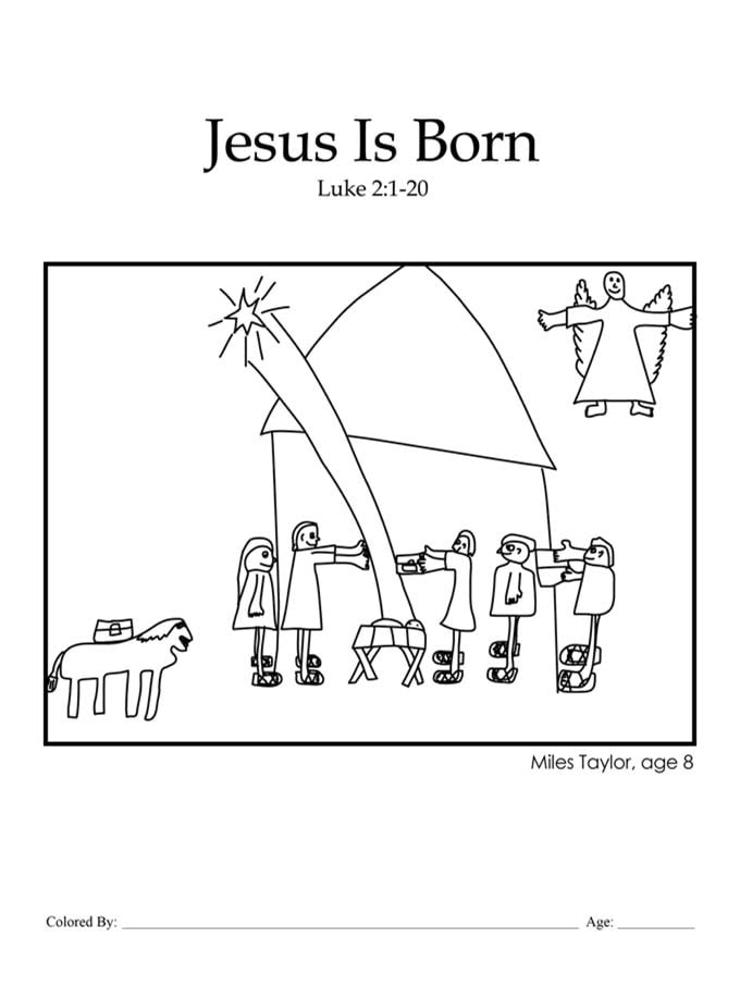 Chapter 33: Bible coloring page of Jesus' birth in the manger