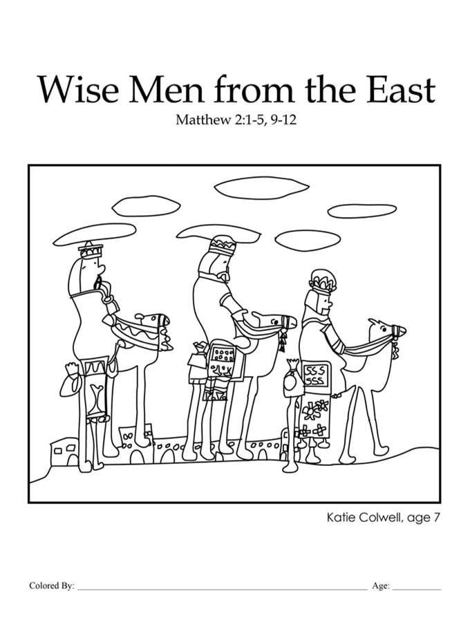 Chapter 34: Bible coloring page of the three wise men