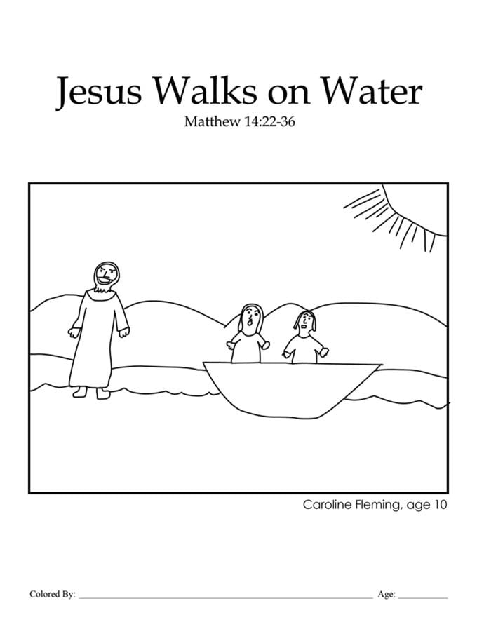 Chapter 36: Bible coloring page of Jesus walking on water