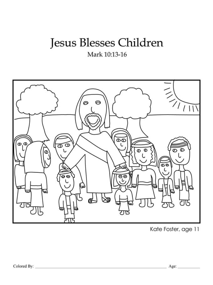 Chapter 38: Bible coloring page of Jesus blessing the children