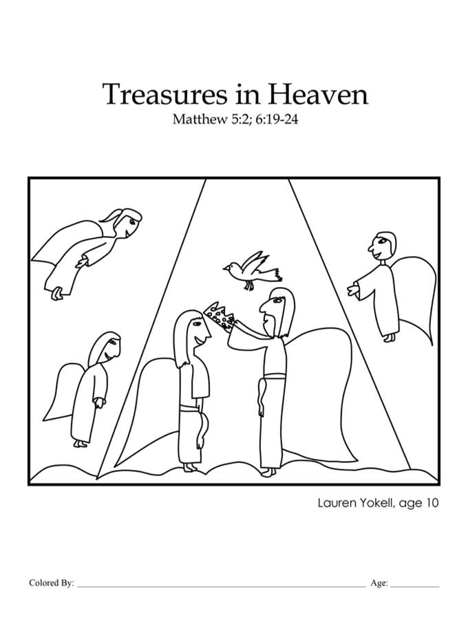 Chapter 40: Bible coloring page of Treasures in Heaven