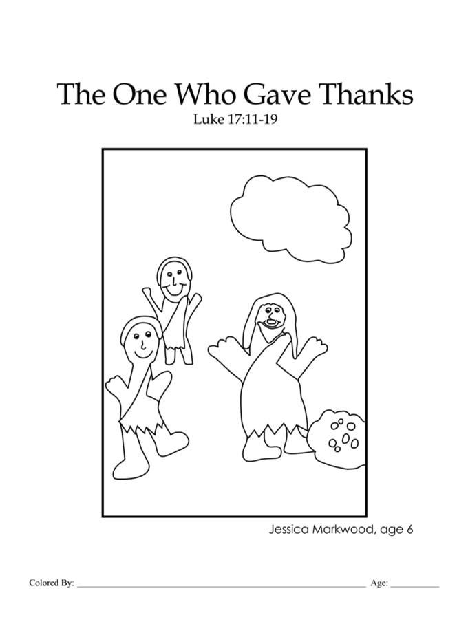 Chapter 42: Bible coloring page of Jesus healing ten lepers