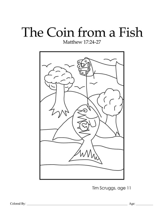 Chapter 44: Bible coloring page of the coin from a fish