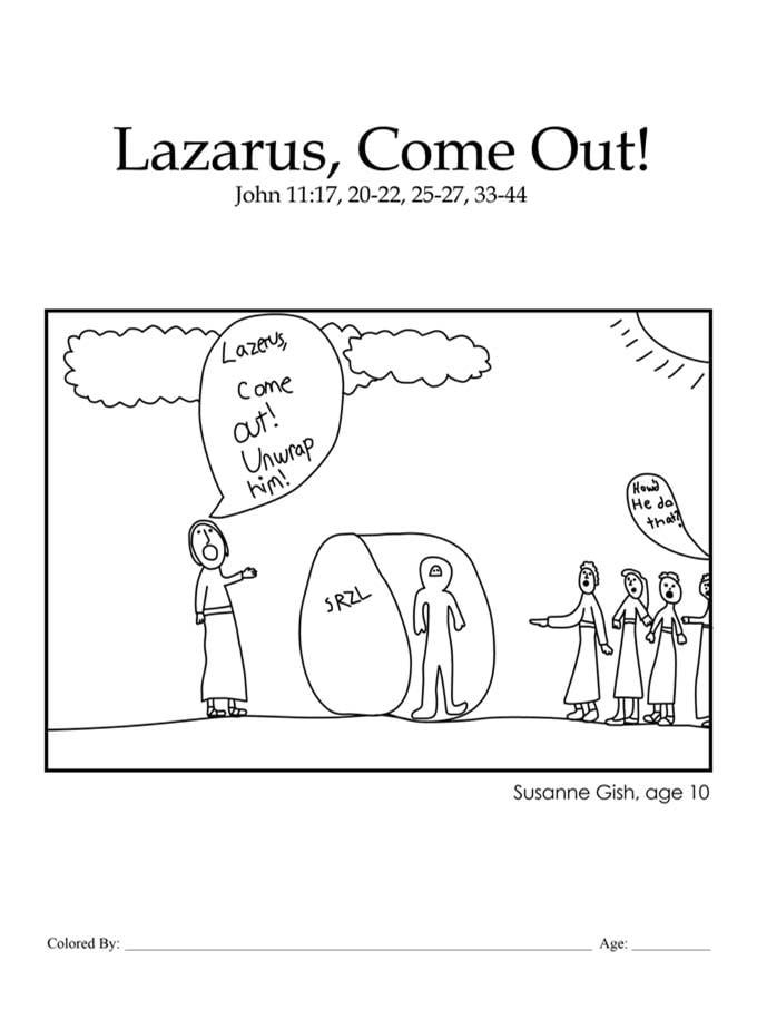Kids Color Me Bible – Chapter 45 – Lazarus, Come Out!