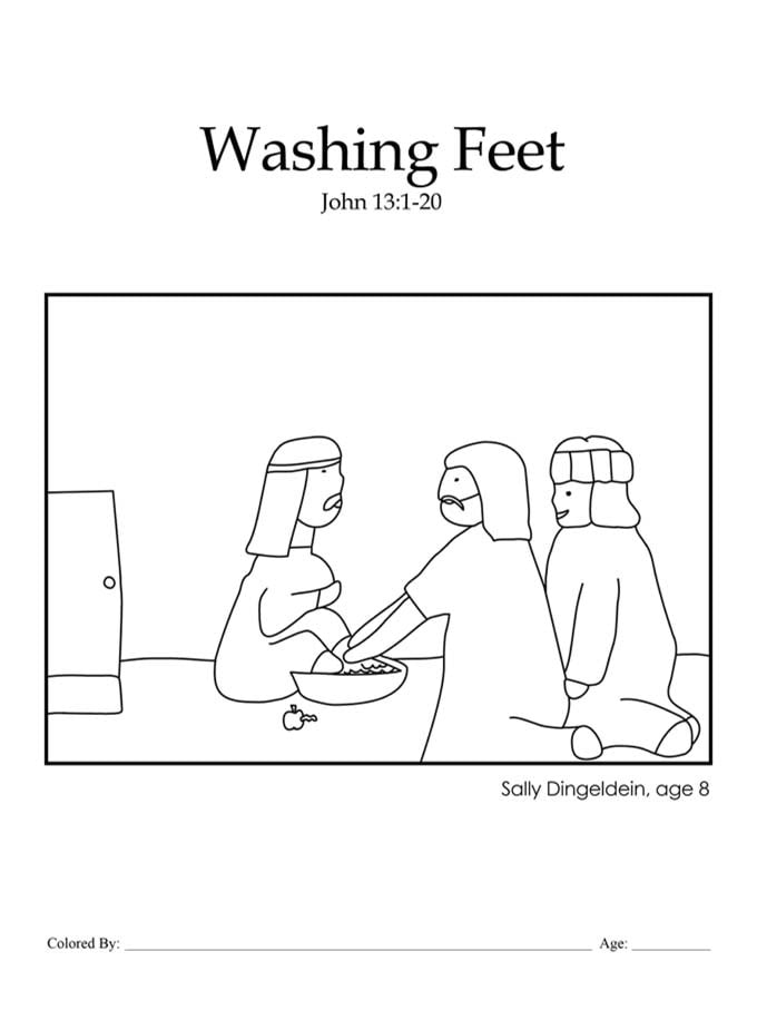 Chapter 46: Bible coloring page of Jesus washing the disciples' feet