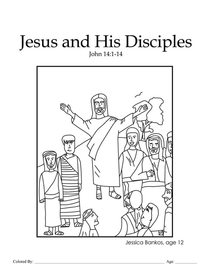 Chapter 47: Bible coloring page of Jesus and His Disciples