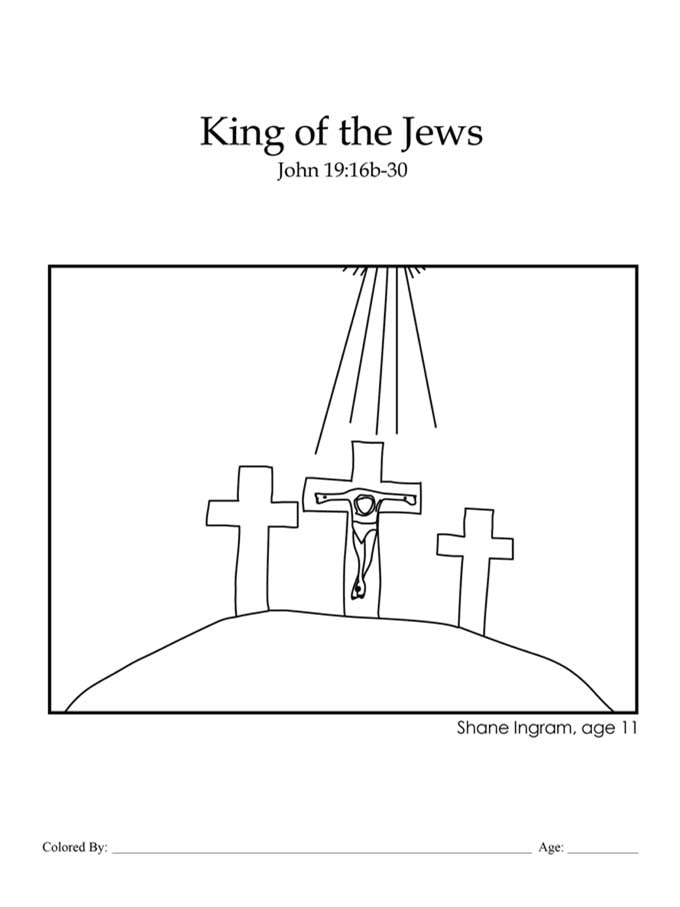 Chapter 49: Bible coloring page of Jesus on the cross It Is Finished