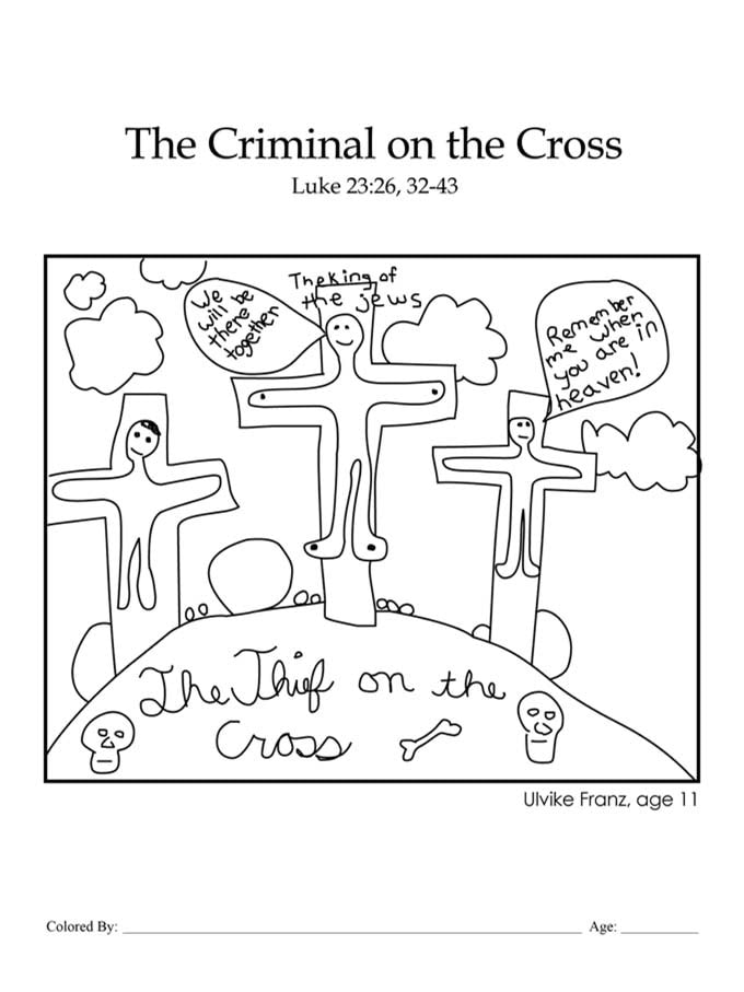 Chapter 50: Bible coloring page of Jesus and the thief on the cross