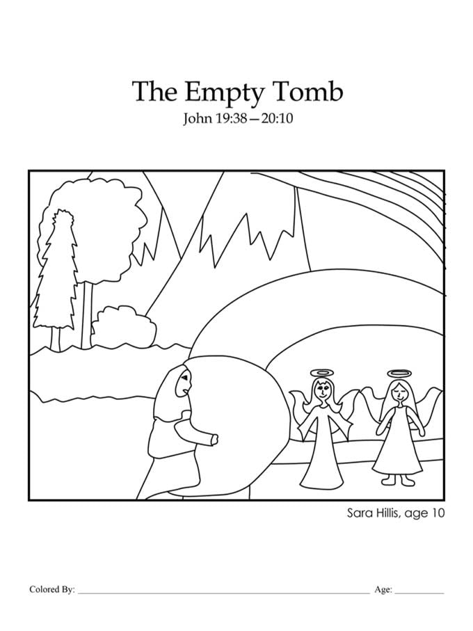Chapter 51: Bible coloring page of the empty tomb