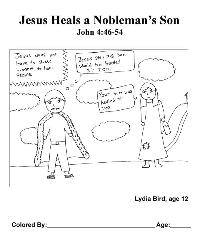Chapter 21 Bible coloring page: Jesus Heals a Nobleman's Son