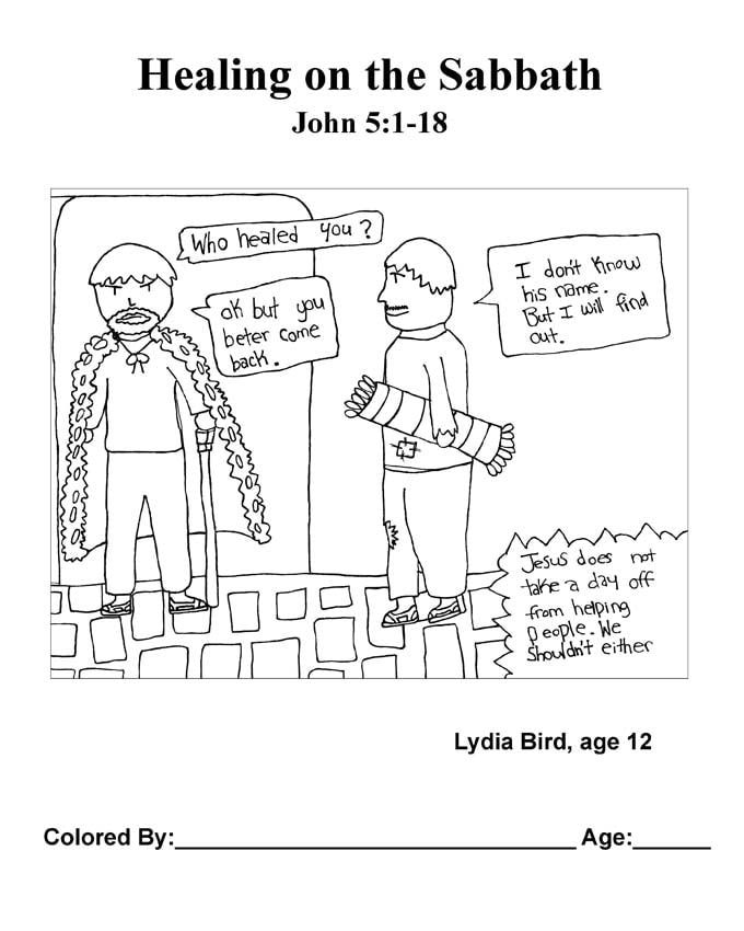 Chapter 22 Bible coloring page: Healing on the Sabbath