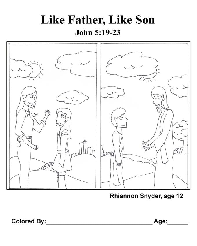 Chapter 23 Bible coloring page: Like Father, Like Son