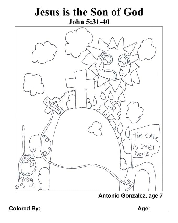 Chapter 25 Bible coloring page: Jesus is the Son of God