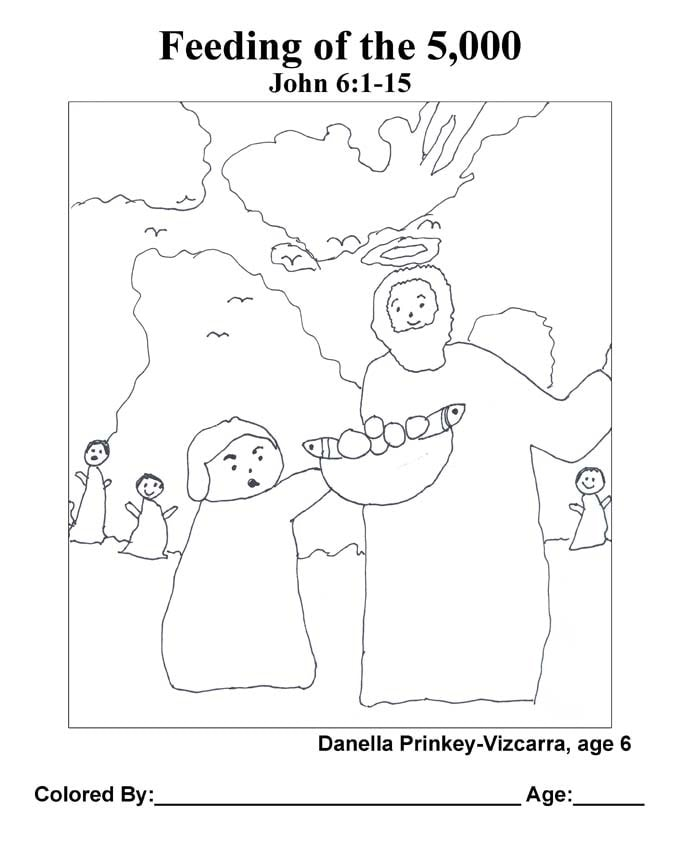 Chapter 27 Bible coloring page: Feeding of the 5,000