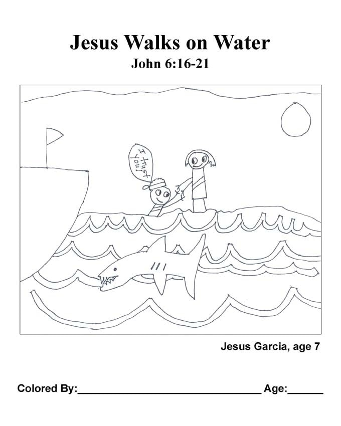 Chapter 28 Bible coloring page: Jesus Walks on Water