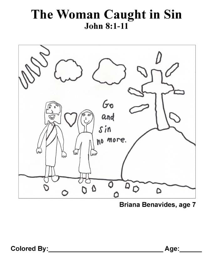 Chapter 38 Bible coloring page: The Woman Caught in Sin