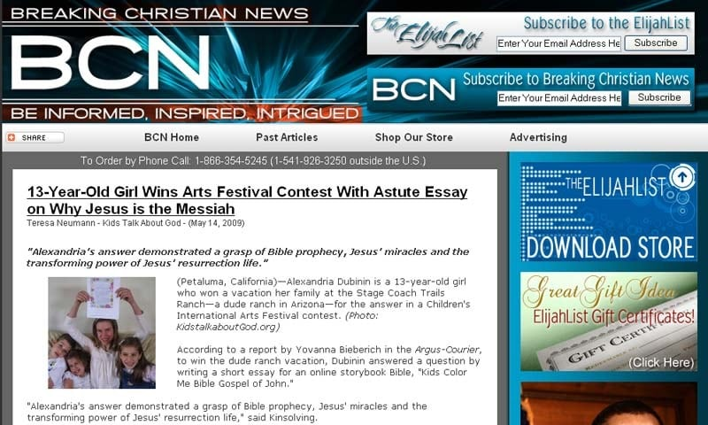 ARTICLE: Breaking Christian News