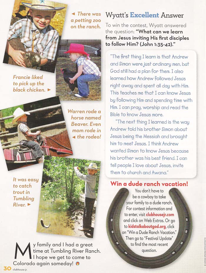 Article in Clubhouse Jr., part 3