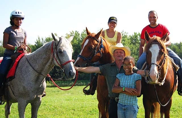 Micah and Family at The Hilltop Ranch with owner Ron Sirota