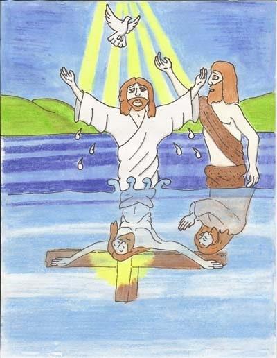 Artwork by Daniel Carr: Jesus is Baptized