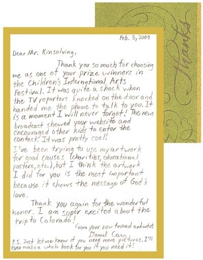 Daniel's thank you note
