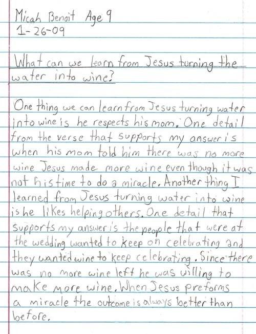 Micah's Winning Writing