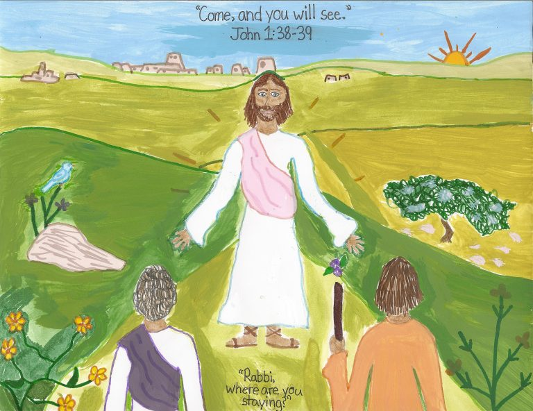 Riley's Artwork: Jesus Inviting His Disciples