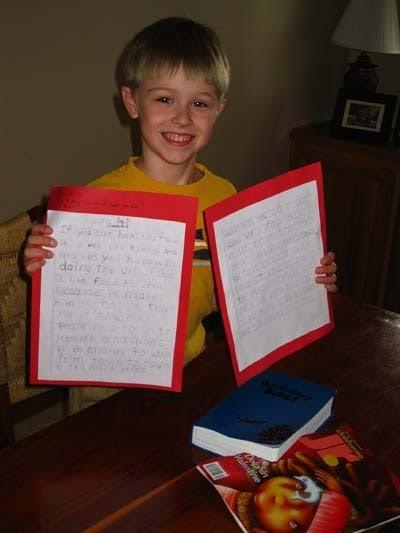 Drew and his winning essay