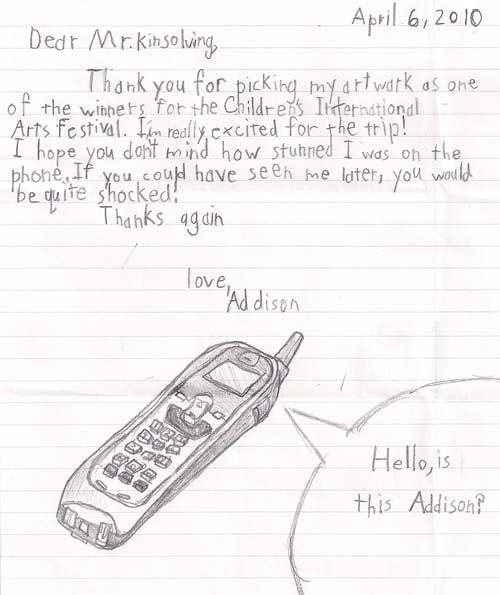 Addison's thank you