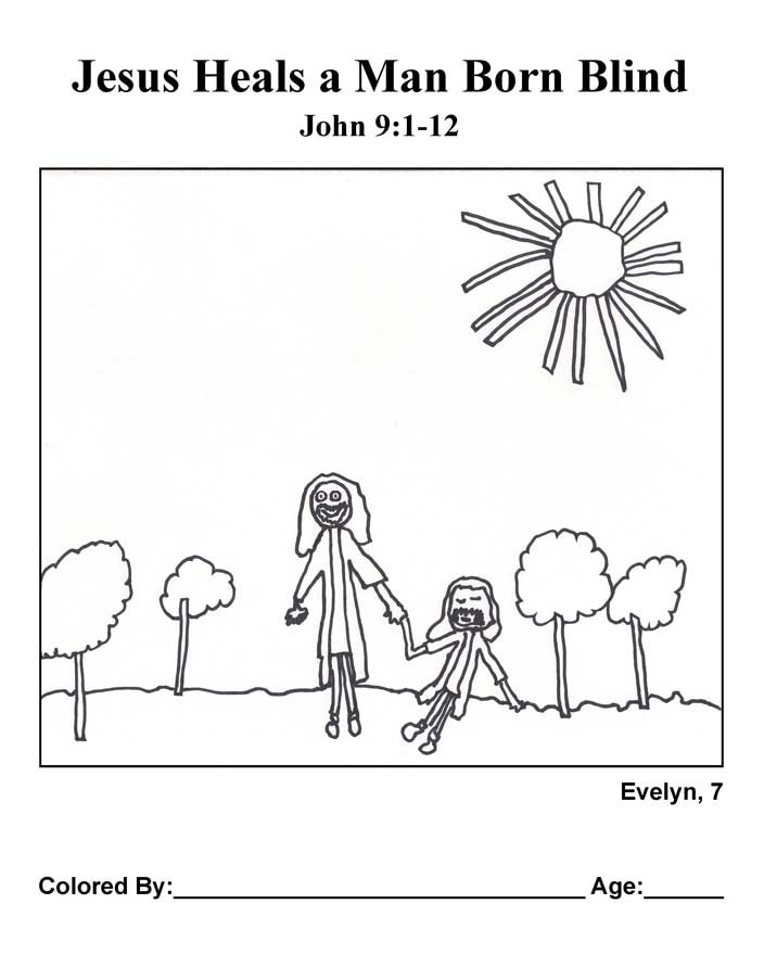 Coloring Page: Jesus Heals a Man Born Blind