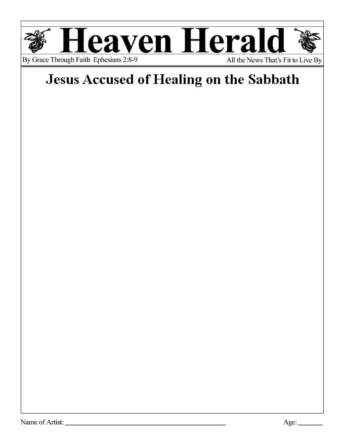 "Draw something to go with this headline: ""Jesus Accused of Healing on the Sabbath"""