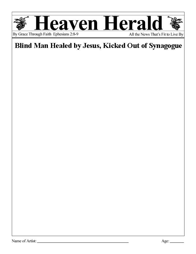 Draw something to go with the headline: Blind Man Healed by Jesus, Kicked Out of Synagogue