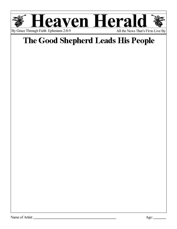 Draw something to go with this headline: The Good Shepherd Leads His People