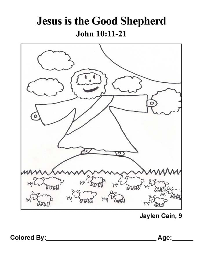 Coloring Page: Jesus is the Good Shepherd